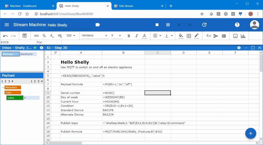 In this screenshot, we see an advanced setup where we change the Streamsheets in a formula view. This allows for more customization.