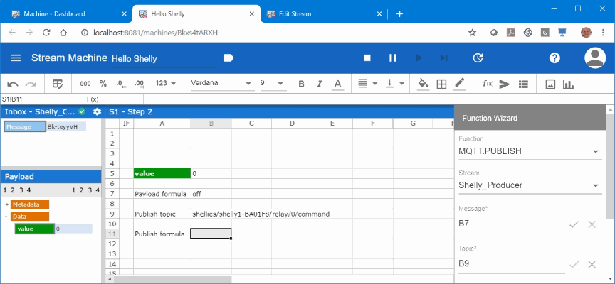 This screenshot shows how to create a publish formular.