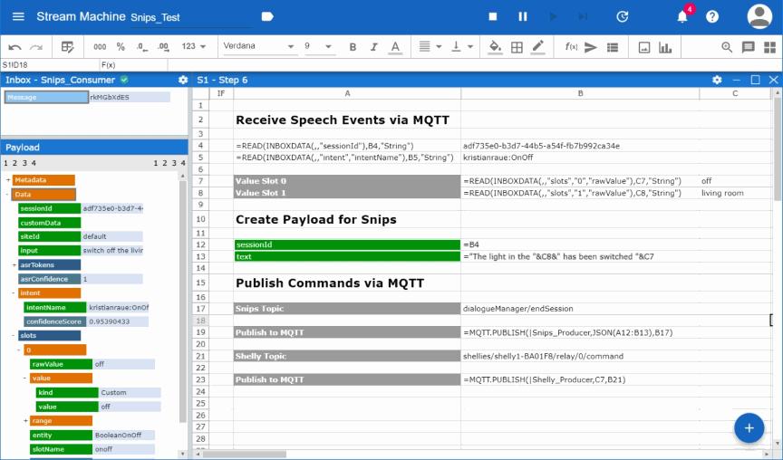 Screenshot of Streamsheets publishing data
