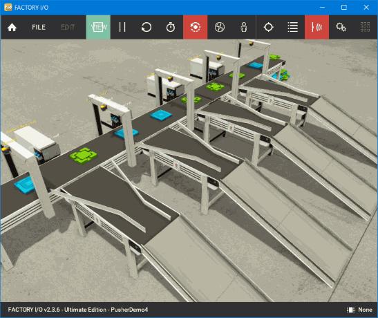 A screenshot of factoryI/O